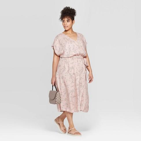Women\'s Plus Size Short Sleeve Woven Faux Wrap Dress - Ava & Viv ...