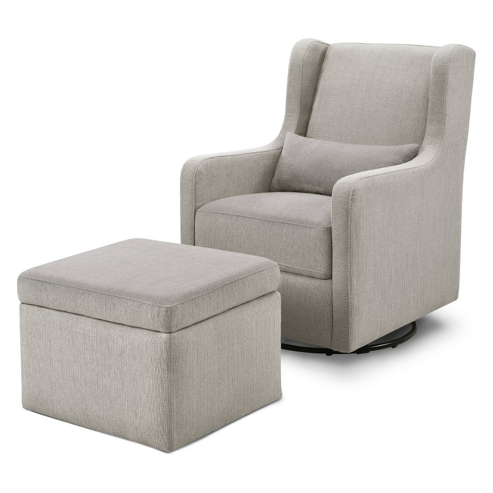 Image of Carter's by DaVinci Adrian Swivel Glider with Storage Ottoman - Performance Gray Linen