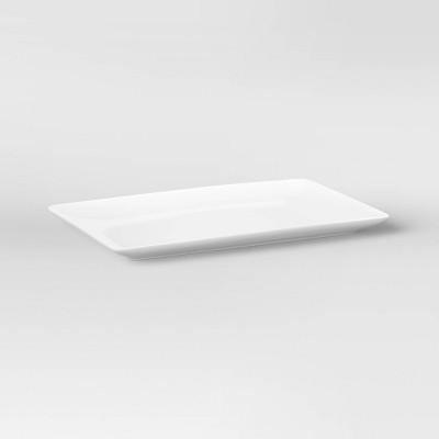 """15.2"""" x 9.6"""" Porcelain Rectangular Platter White - Threshold™"""
