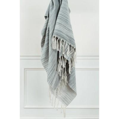 "50""x60"" Stripe Throw Blanket Light Gray - Rizzy Home"