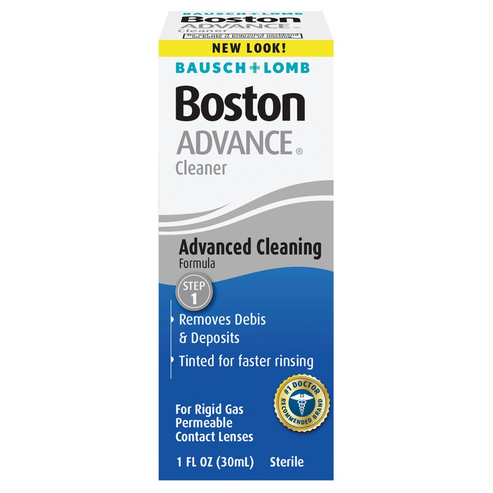 Boston Advance Cleansing Contact Lens Solution - 1oz. Keep your contacts feeling like new longer with Bausch and Lomb Boston Advance Cleansing Contact Lens Solution - 1 oz. This sterile disinfectant solution for hard lenses breaks down protein build up and rinses away damaging debris. Age Group: Adult.