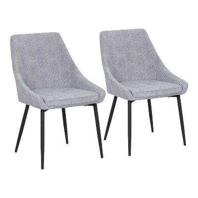 Set of 2 Diana Contemporary Dining Chairs Metal and Corduroy - LumiSource