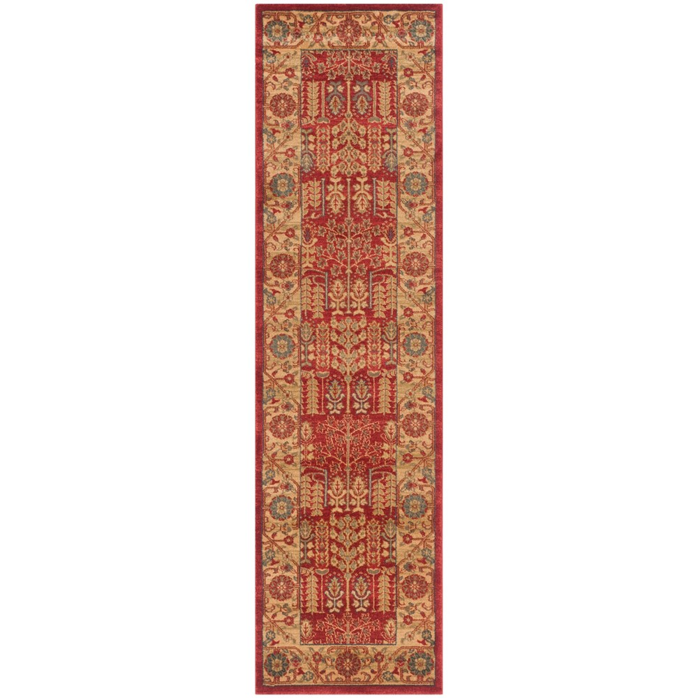 2'2X22' Loomed Floral Runner Rug Red - Safavieh, Red/Natural