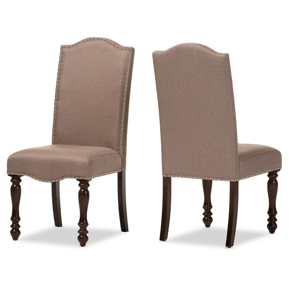 Zachary Chic French Vintage Oak Brown Beige Linen Fabric Upholstered Dining Chairs (Set of 2) - Baxton Studio, Desert