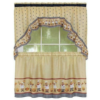 Kate Aurora Fat Chef Cucina Rod Pocket Cafe Kitchen Curtain Tier and Swag Valance Set
