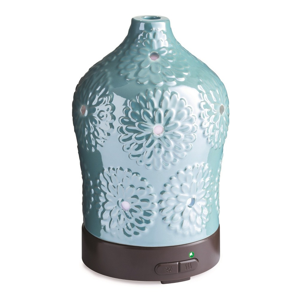 Image of 100ml Iridescent Floral Ultrasonic Diffuser - Candle Warmers Etc., Frosted Glass