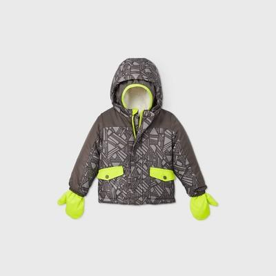 Toddler Boys' Geometric Print Ski Bomber Jacket - Cat & Jack™ Gray/Yellow 3T