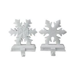 "Northlight Set of 2 White Snowflake Glittered Christmas Stocking Holder 9.5"""