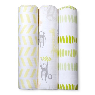 Muslin Swaddle Blankets Monkeys & Giraffes 3pk - Cloud Island™ - Yellow