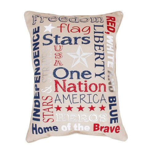 "Dcor Therapy 14""x18"" Patriotic Typography Faux Linen Throw Pillow Beige - image 1 of 6"