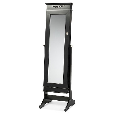 Bimini Wood Crown Molding Top Free Standing Full Length Cheval Mirror Jewelry Armoire - Baxton Studio
