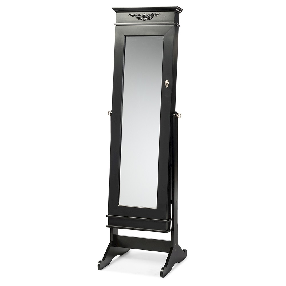 Bimini Wood Crown Molding Top Free Standing Full Length Cheval Mirror Jewelry Armoire - Black Finish - Baxton Studio