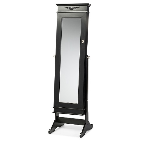 Bimini Wood Crown Molding Top Free Standing Full Length Cheval Mirror Jewelry Armoire - Baxton Studio - image 1 of 4