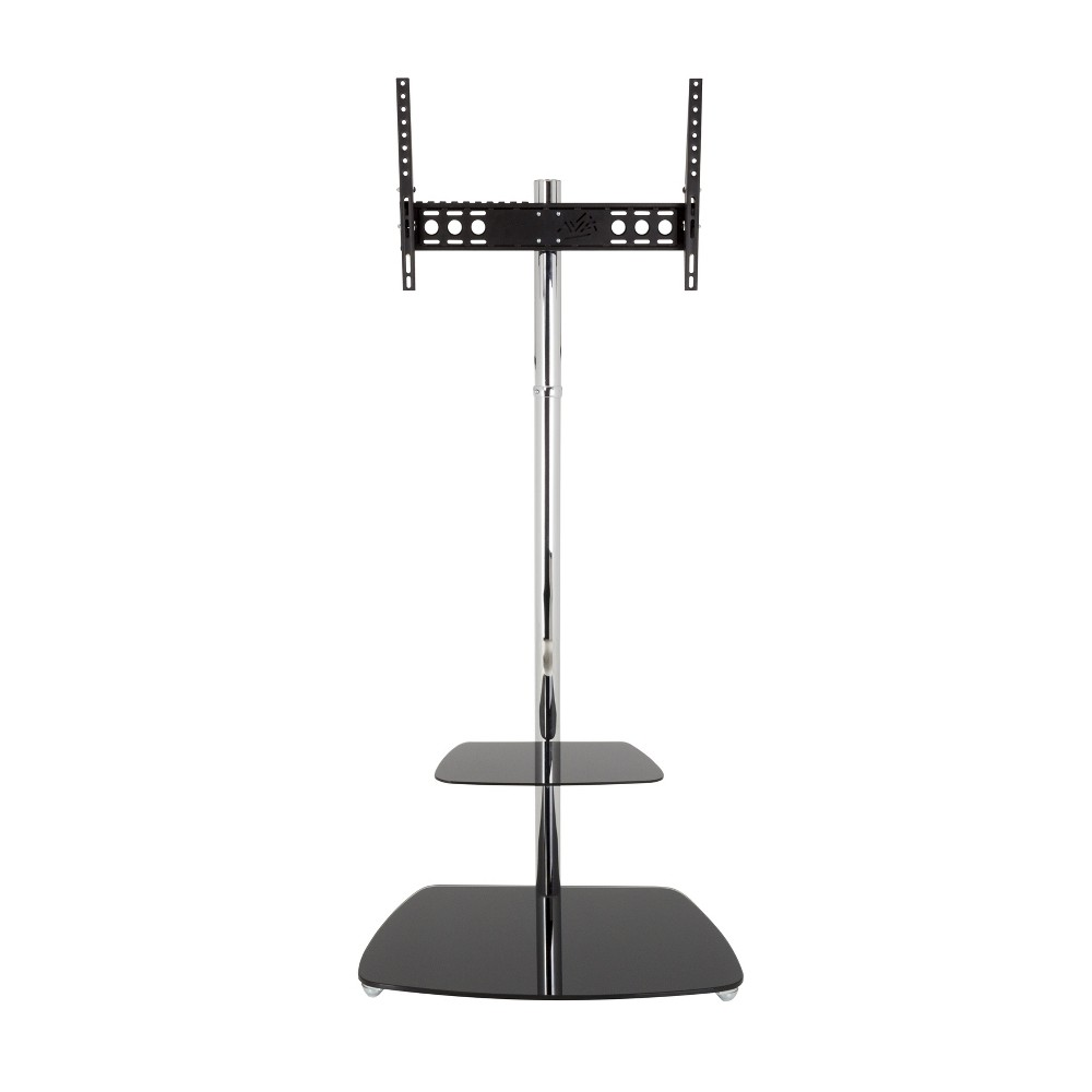 70  TV Stand with TV Mount/Optional Casters - Silver/Black, Black Silver The Iseo TV Floor Mount's swan neck design provides the optimum center of gravity and allows TV's of 32-inch to 70-inch to be mounted at the perfect height, without having to attach it to a wall. The height adjustable shelf provides the flexibility for a wide range of AV accessories and TV sizes, while the Cable Management column allows cables to be neatly hidden from view. Featuring secure AVF mounting technology, TV are protected from accidental knocks or tip-overs. For TV Sizes: 32, 37, 39, 40, 42, 43, 46, 47, 50, 52, 55, 58, 60, 65, 70. Color: Black Silver.