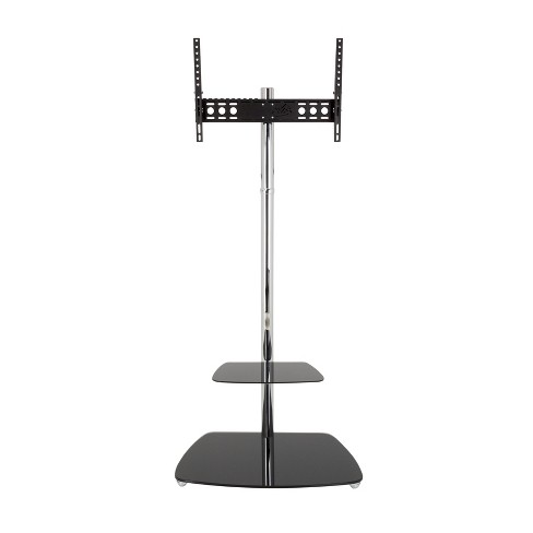 """70"""" TV Stand with TV Mount/Optional Casters - Silver/Black - image 1 of 4"""