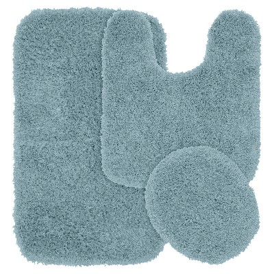Garland 3 Piece Jazz Shaggy Washable Nylon Bath Rug Set - Basin Blue