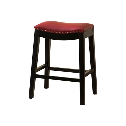 Dakota Bonded Leather Saddle Counter Height Barstool Red - Abbyson Living - image 1 of 4