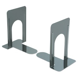Universal® Economy Bookends, Standard, 5 7/8 x 8 1/4 x 9, Heavy Gauge Steel, Black