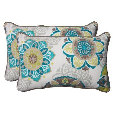 Pillow Perfect Allodala Outdoor 2-Piece Lumbar Throw Pillow Set - Blue