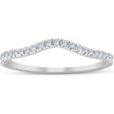 Pompeii3 1/4 Ct Curved Diamond Guard Enhancer Wedding Ring 10k White Gold