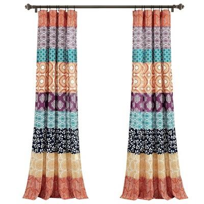 Set of 2 Bohemian Striped Light Filtering Window Curtain Panels - Lush Décor