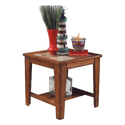 Toscana Square End Table Rustic Brown   Signature Design By Ashley