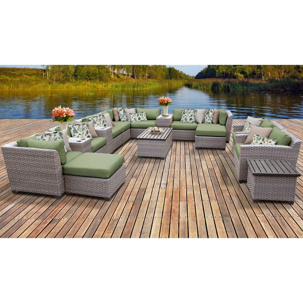 Florence 17pc Sectional Seating Group With Cushions Green Tk Classics