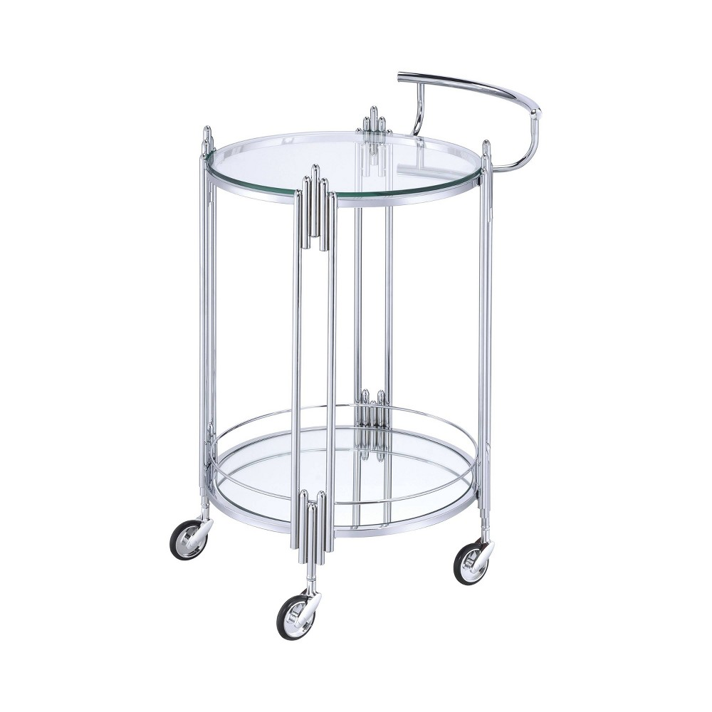 Image of Sinclair 2 Tier Metal Serving Cart Chrome - HOMES: Inside + Out, Gray
