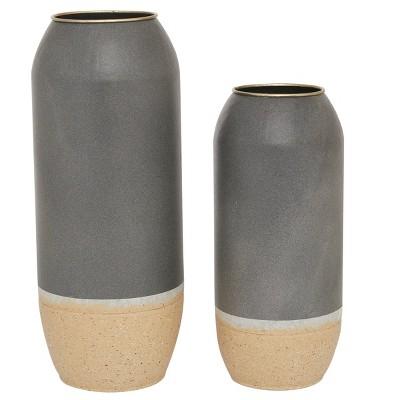 Set of 2 Round Metal Vases Gray/Beige - Olivia & May