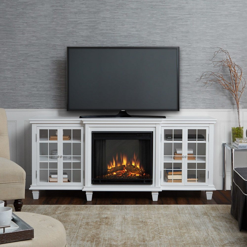 Image of Real Flame Marlowe Electric Fireplace Entertainment Center - White