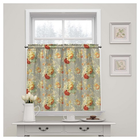 "Sanctuary Rose Floral Window Tier Pair (52""x36"") - Waverly - image 1 of 1"