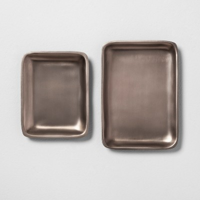 2pc Metal Catchall Tray Pewter - Hearth & Hand™ with Magnolia