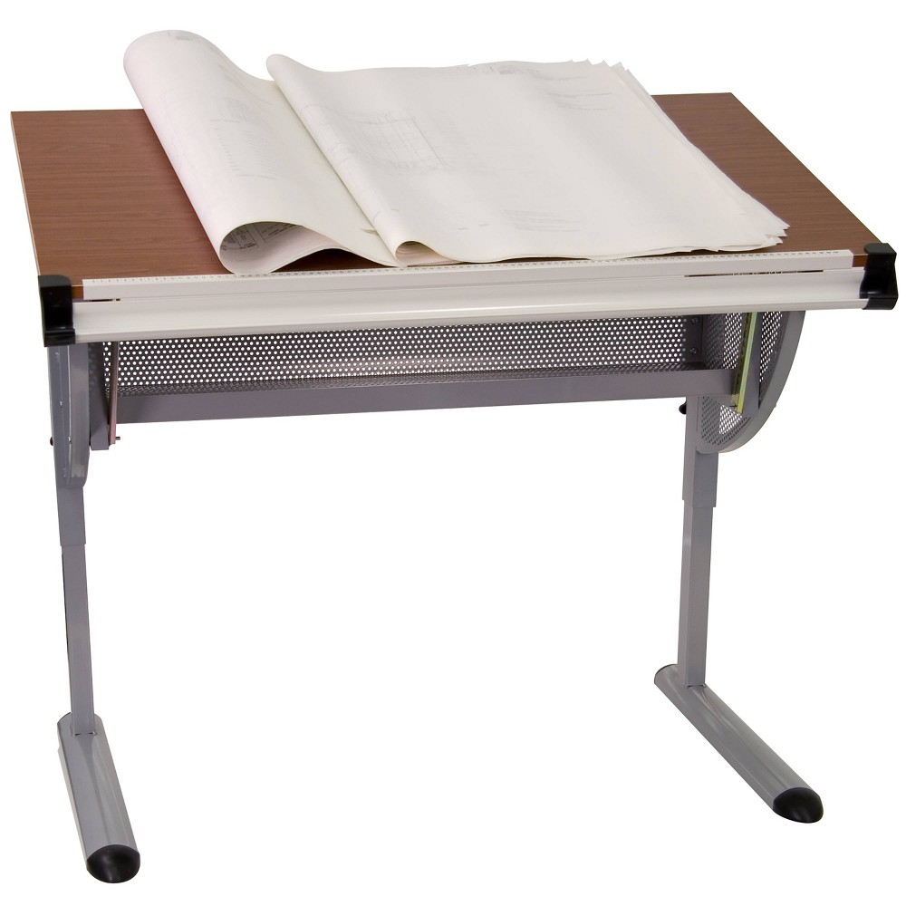Image of Adjustable Drawing and Drafting Table with Pewter Frame - Flash Furniture, Silver