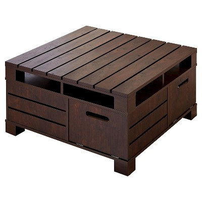 Gentil Carin Plank Style Crate Coffee Table Vintage Walnut   IoHOMES
