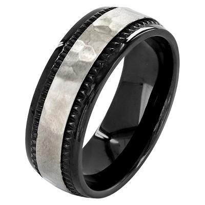 Crucible Men's Titanium Plated Hammered Milgrain Ring - Black