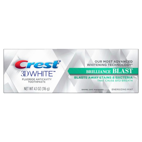 Crest 3D White Brilliance Blast Whitening Toothpaste For Sensitive Teeth Energizing Mint - 4.1oz - image 1 of 4