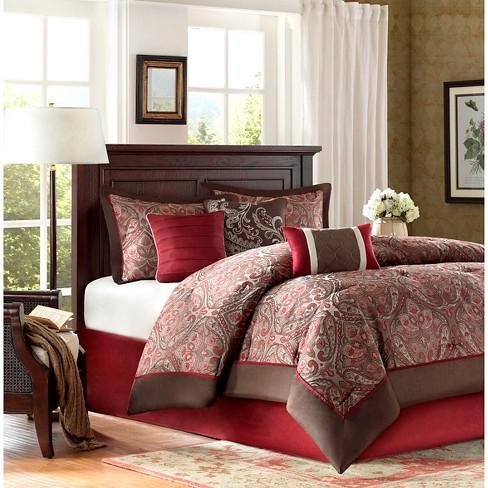 Graham 7 Piece Comforter Set   Burgundy (King) : Target