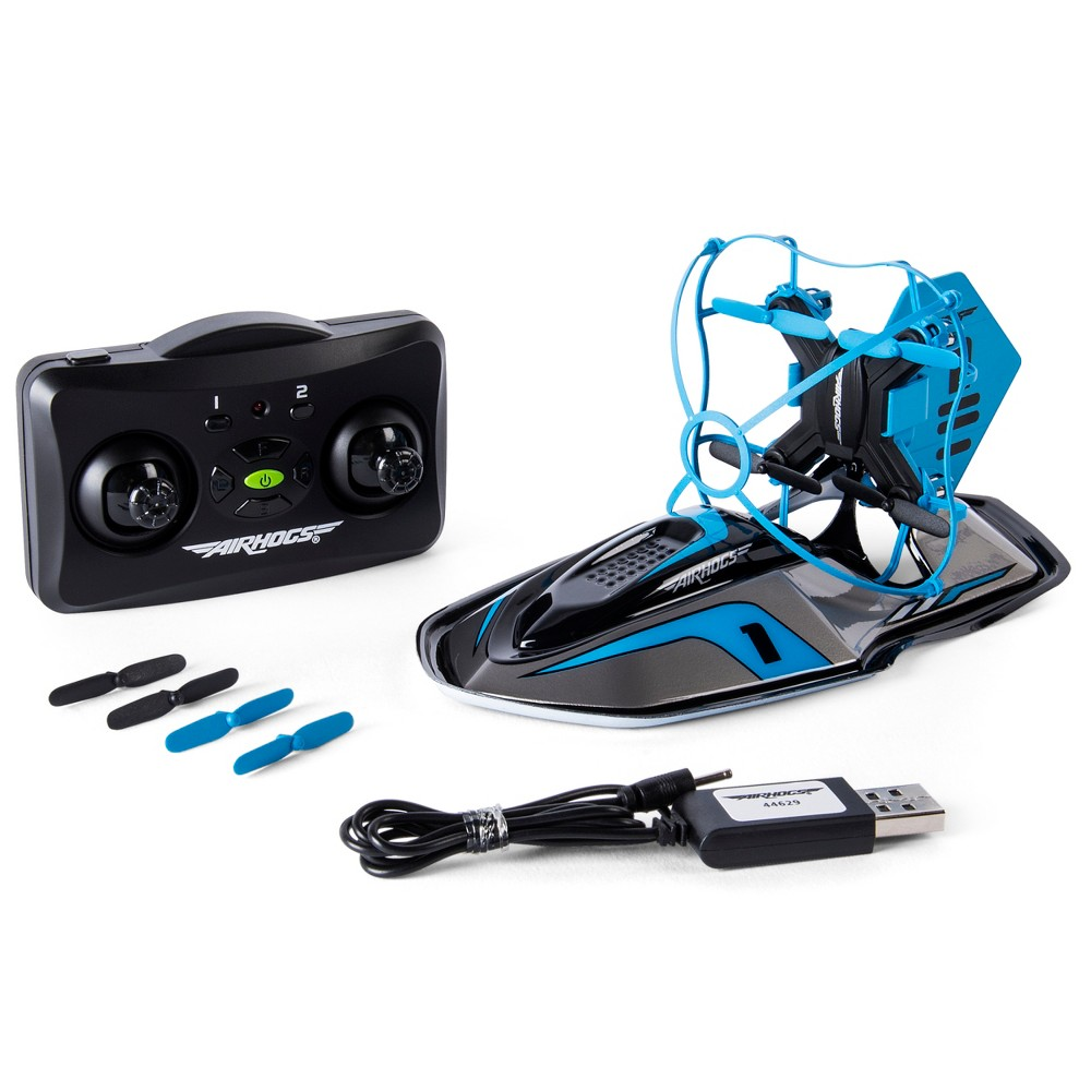 Image of Air Hogs 2-in-1 Hyper Drift Drone for Kids, Capable of High Speed Racing and Flying - Blue