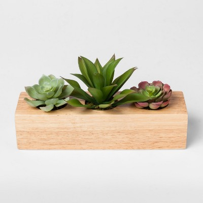 Faux Succulent Plants in Wood Pot - Project 62™