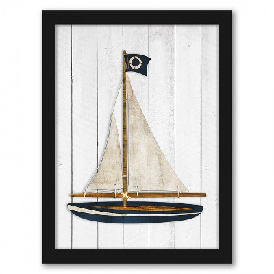 Americanflat Sailboat by Samantha Ranlet Black Frame Wall Art