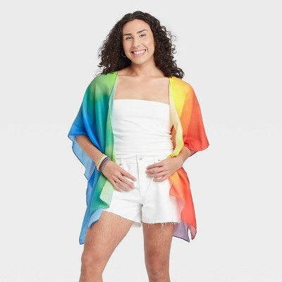 Pride Gender Inclusive Adult Rainbow Tie-Dye Ruana Scarf