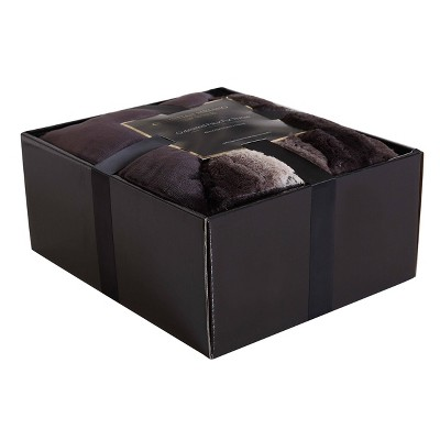 Giftable Boxed Throw Blanket Black & Brown - Christian Siriano
