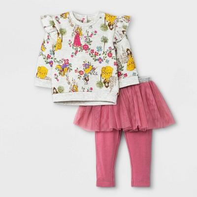 Baby Girls' 2pc Disney Princess Fleece Pullover and Tutu Leggings Set - Rose Pink