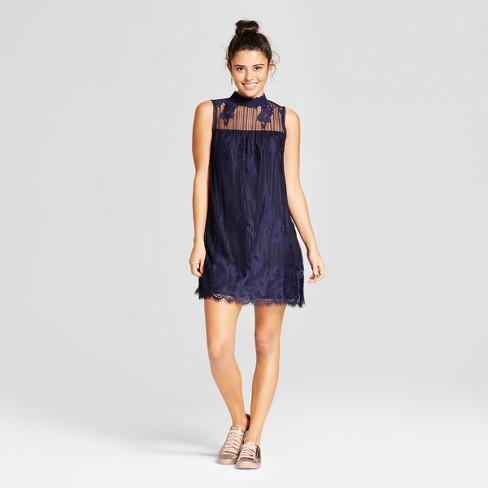 99f7b85f3f Women s Lace Mockneck Shift Dress - Xhilaration™ (Juniors ) Navy M ...