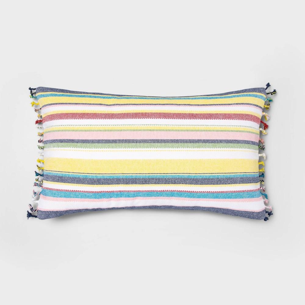 Image of Oversized Lumbar Woven Multi Stripe Pillow - Threshold