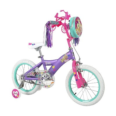 Dynacraft 16 Inch Barbie Themed Bicycle for Girls with Removable and Adjustable Training Wheels, Handlebar Carrier Bag, and Toy Minibike Accessory