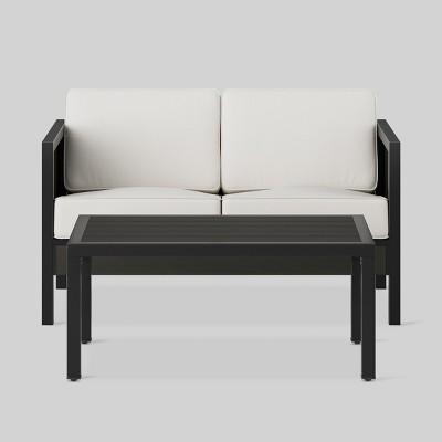 Beau Bryant 2pc Faux Wood Patio Loveseat U0026 Coffee Table Set Black   Project 62™