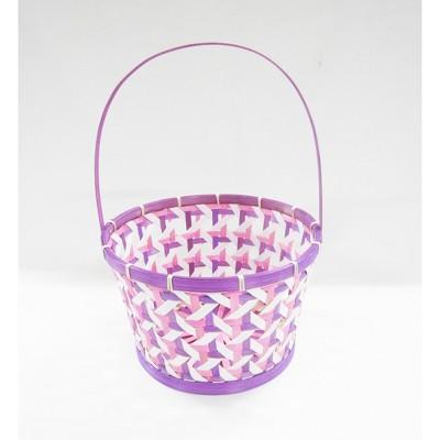 "12"" Bamboo Herringbone Easter Basket Purple - Spritz™"