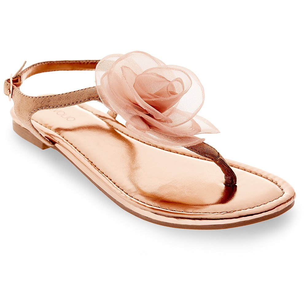 Image of Women's Avianna Metallic Floral Thong Sandals Tevolio - Rose Gold 6, Size: Small, Pink