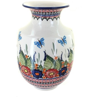 Blue Rose Polish Pottery Floral Butterfly Large Vase